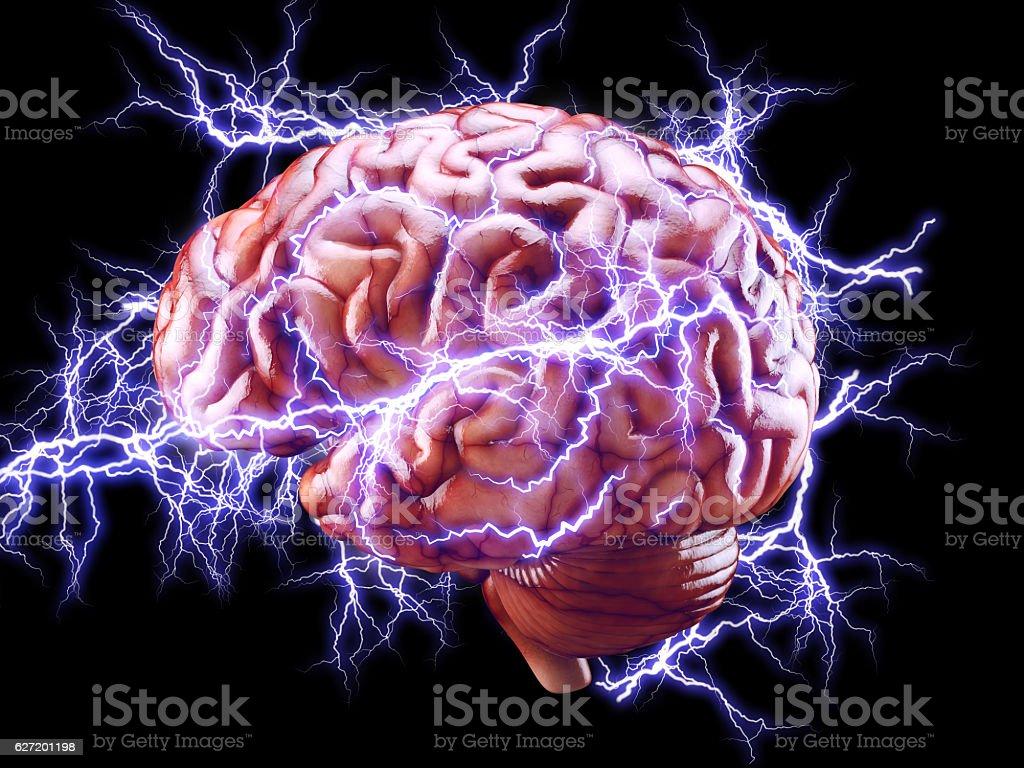 Brain with lightnings, brainstorm concept foto