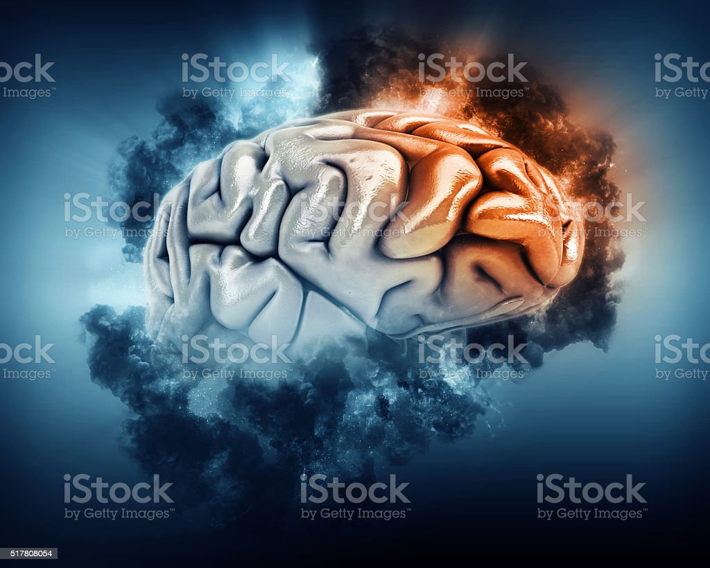 3D brain with storm clouds and frontal lobe highlighted stock photo