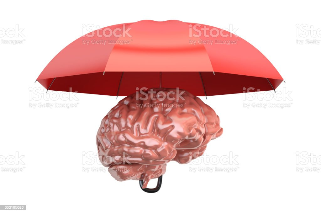 Brain with umbrella, 3D rendering isolated on white background stock photo