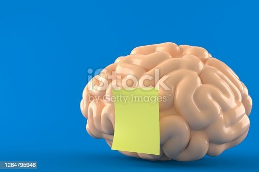Brain with yellow sticker isolated on blue background. 3d illustration