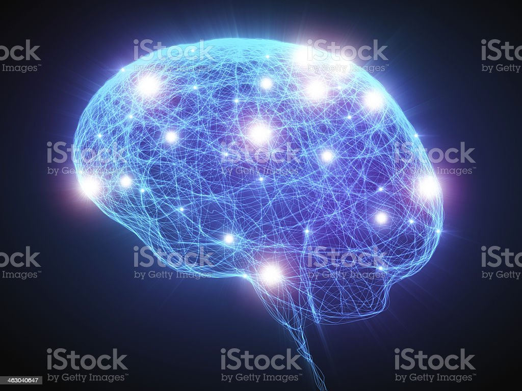 Brain x-ray with neurons 3d high resolution render of a human head with neurons inside 3D Scanning Stock Photo