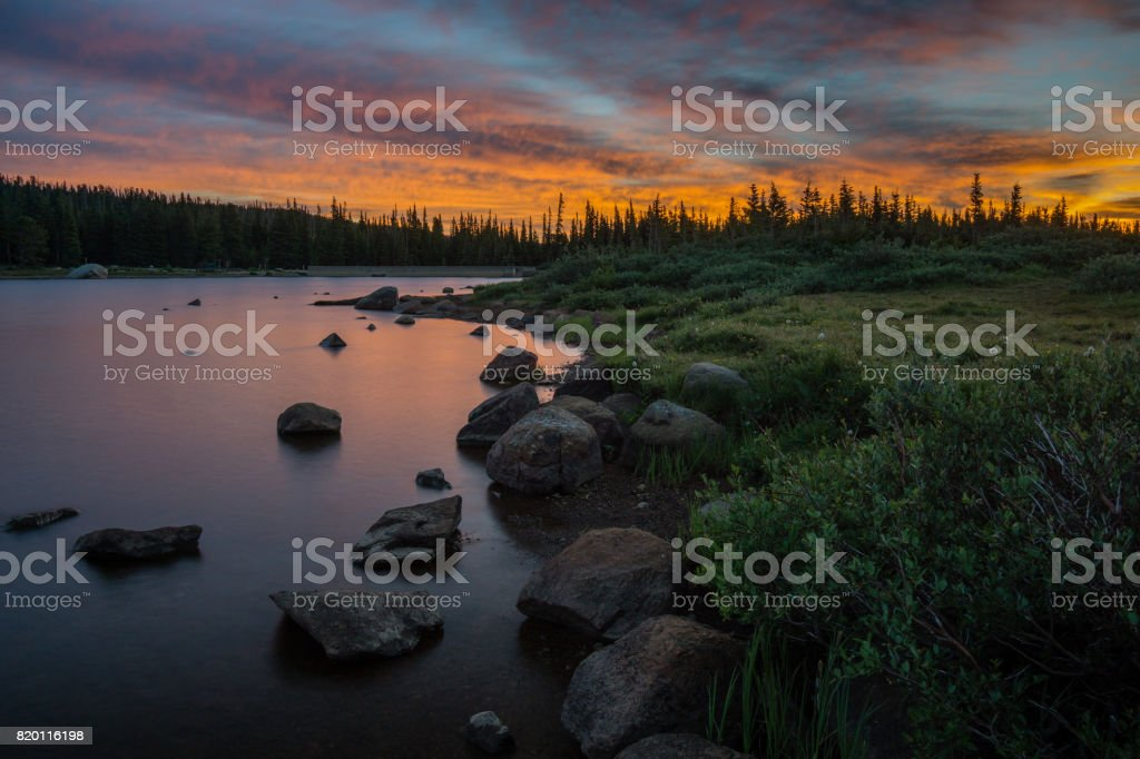 Brainard Lake Sunrise stock photo