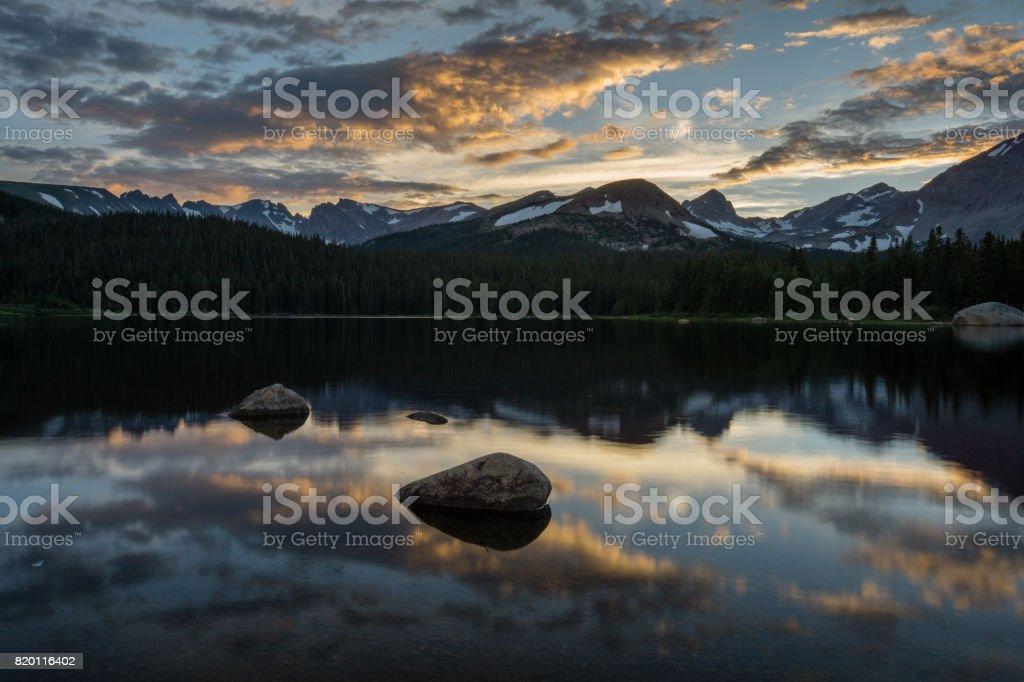 Brainard Lake Sunset stock photo