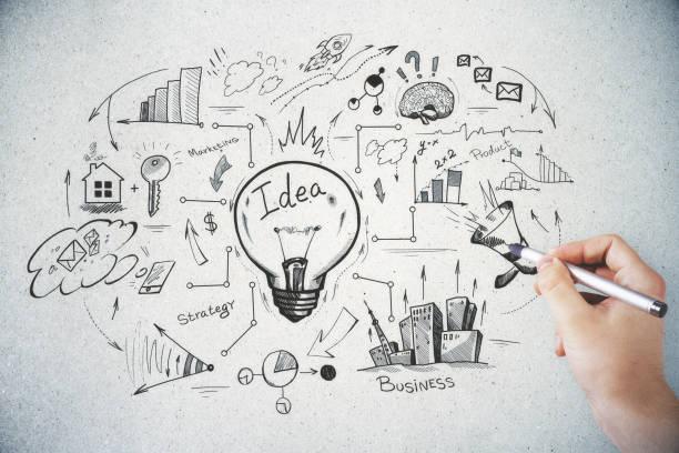 brainstorming und finanzen konzept - scribble stock-fotos und bilder