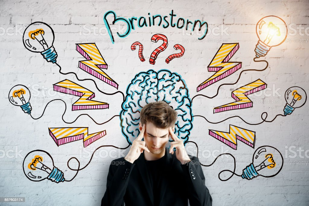 Brainstorm and startup concept stock photo