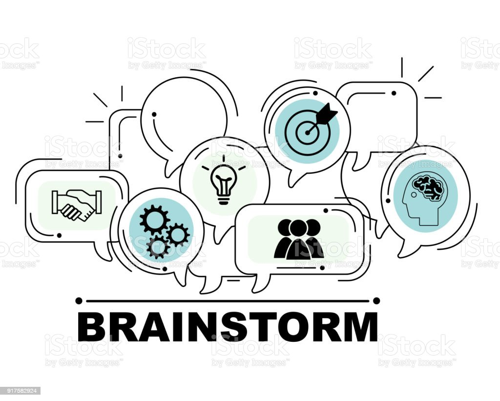 Brainstorm icons set for business illustration design stock photo
