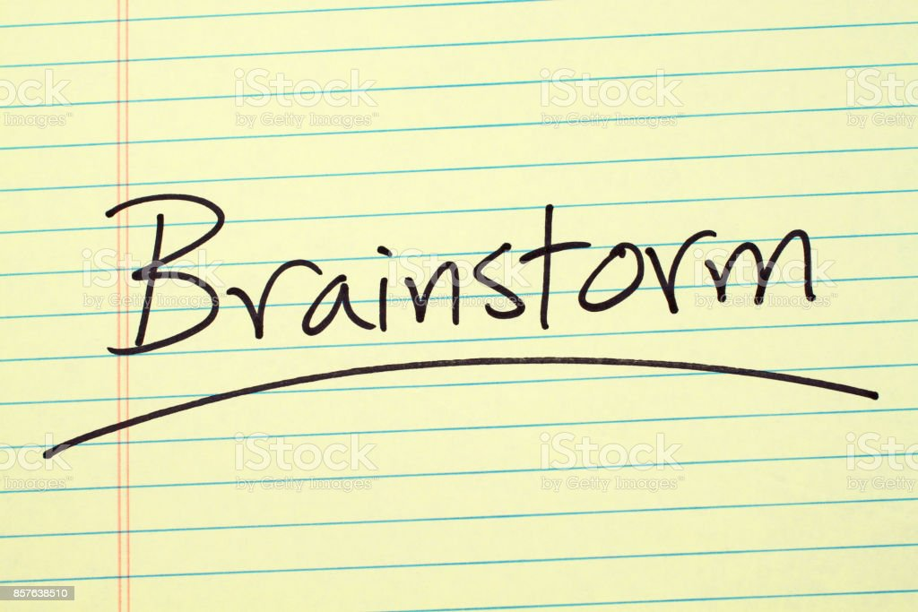 Brainstorm On A Yellow Legal Pad stock photo