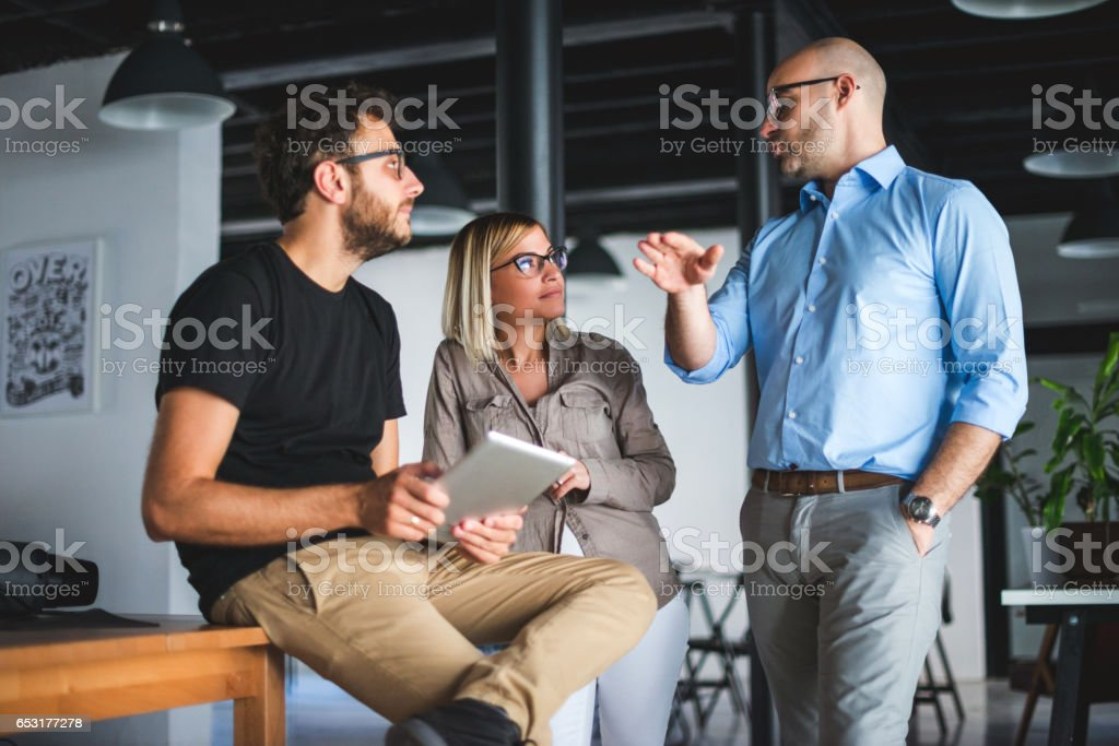 Brainstorming about business stock photo