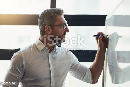 Cropped shot of a mature businessman working on a whiteboard in his office