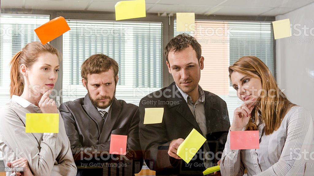 Brainstorming and thinking about key points stock photo