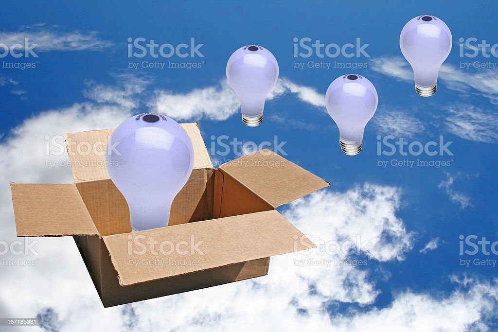 Brainstorming Concept, lightbulbs in the sky royalty-free stock photo