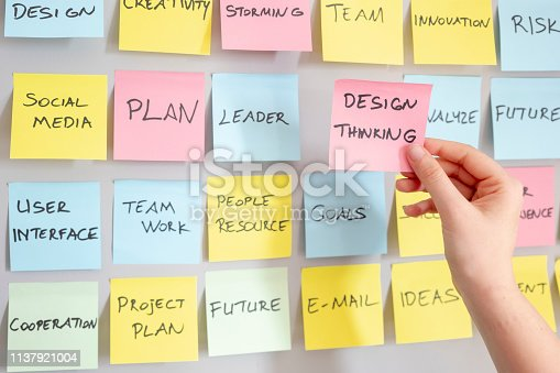 istock Brainstorming concept, Sticky Notes, Design Thinking Note in woman hand 1137921004