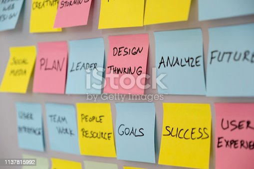 istock Brainstorming concept, Sticky Notes, Design Thinking 1137815992