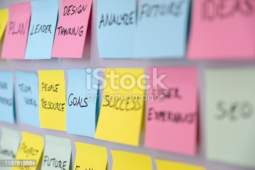 istock Brainstorming concept, Sticky Notes, Goals 1137815884