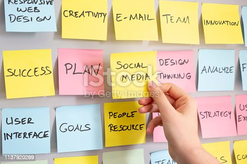 istock Brainstorming concept, Sticky Notes, Social Media Note in woman hand 1137920269