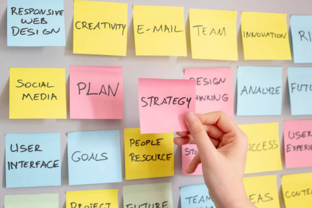 Brainstorming concept, Sticky Notes, Strategy Note in woman hand stock photo