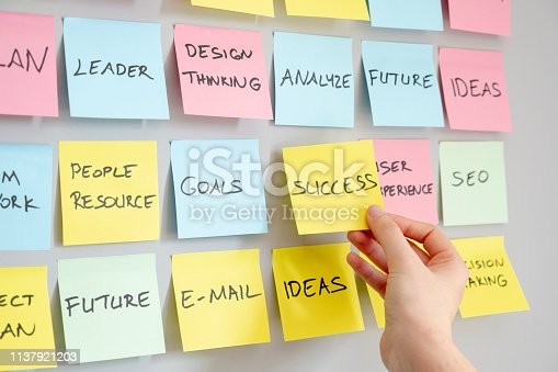 istock Brainstorming concept, Sticky Notes, Success Note in woman hand 1137921203