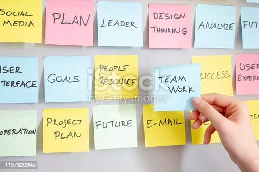 istock Brainstorming concept, Sticky Notes, Teamwork Note in woman hand 1137920945