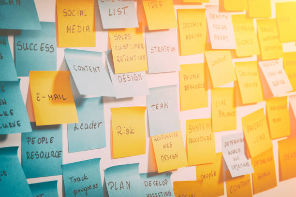 brainstorming concepts. - adhesive note stock photos and pictures