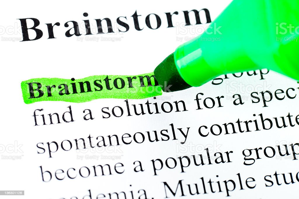 Brainstorming definition highlighted in green royalty-free stock photo