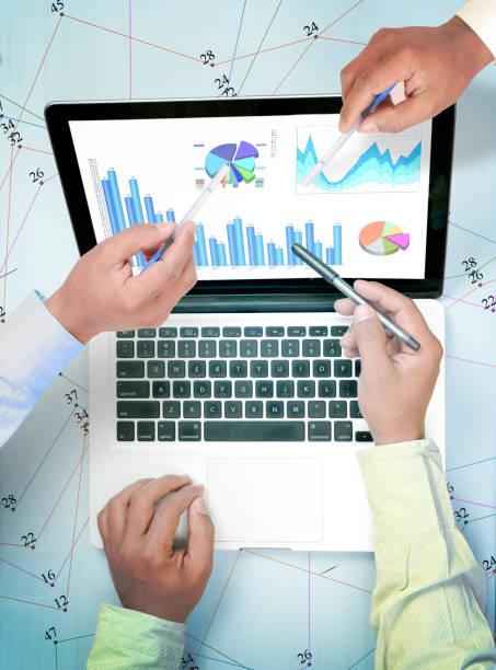 Brainstorming financial data stock photo