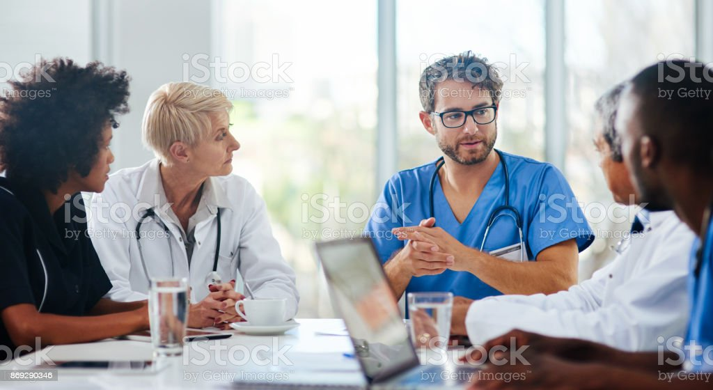 Brainstorming for the best possible diagnosis stock photo