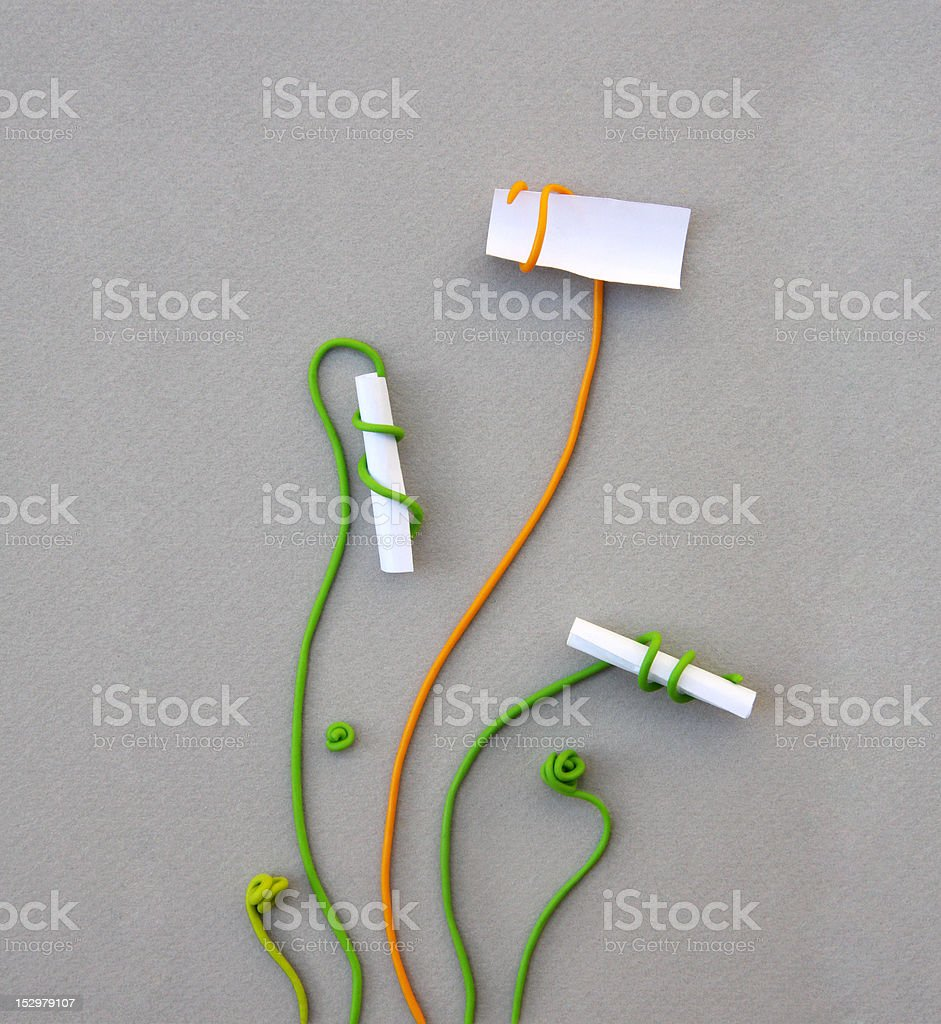 brainstorming ideas: opened paper note among others closed ones royalty-free stock photo