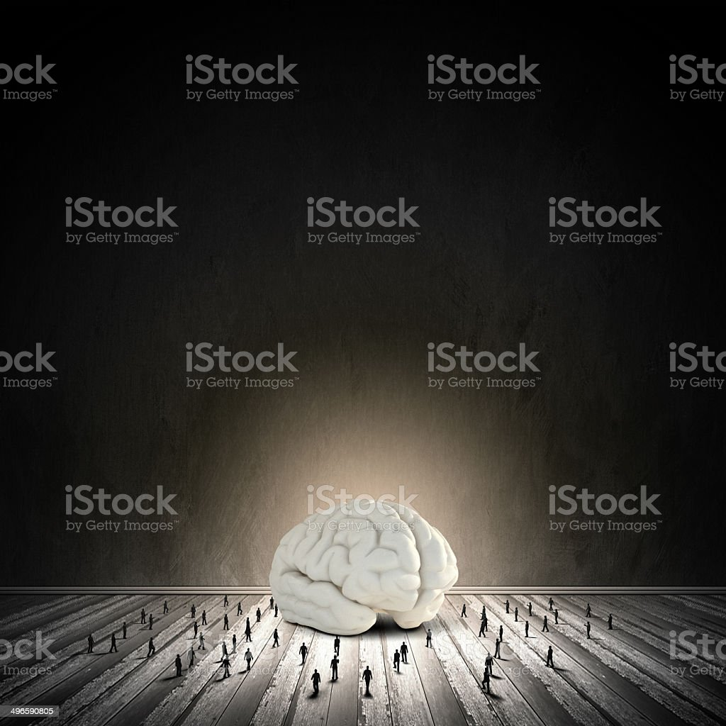 Brainstorming Little People And Huge Human Brain Stock Photo & More ...