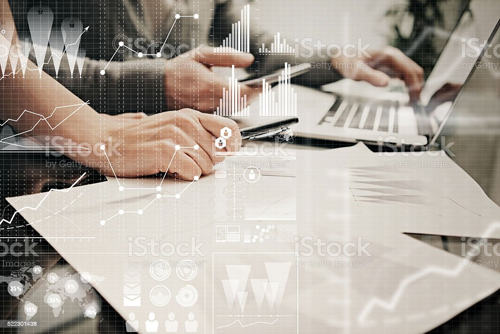 Brainstorming meeting concept.Businessmans crew working banking investment project modern stock photo