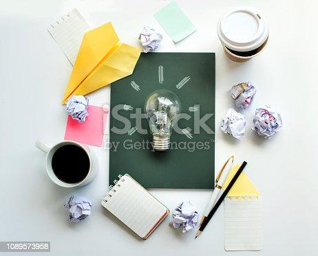 istock Brainstorming meeting table top. 1089573958