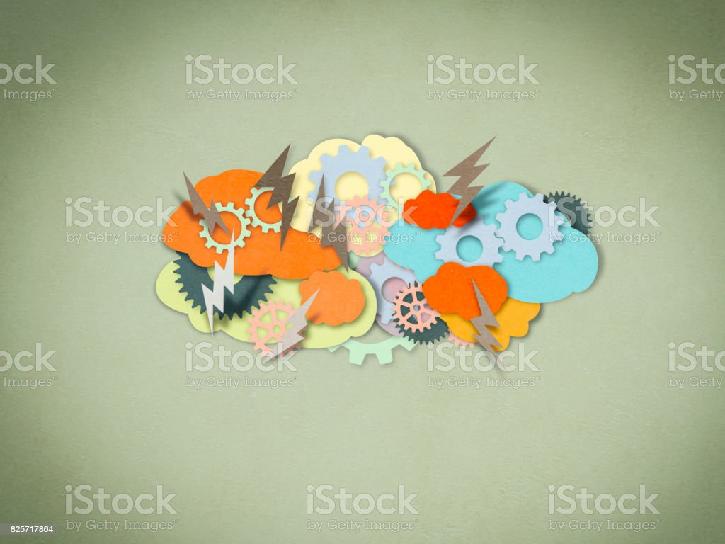 Brainstorming, paper cutting style stock photo