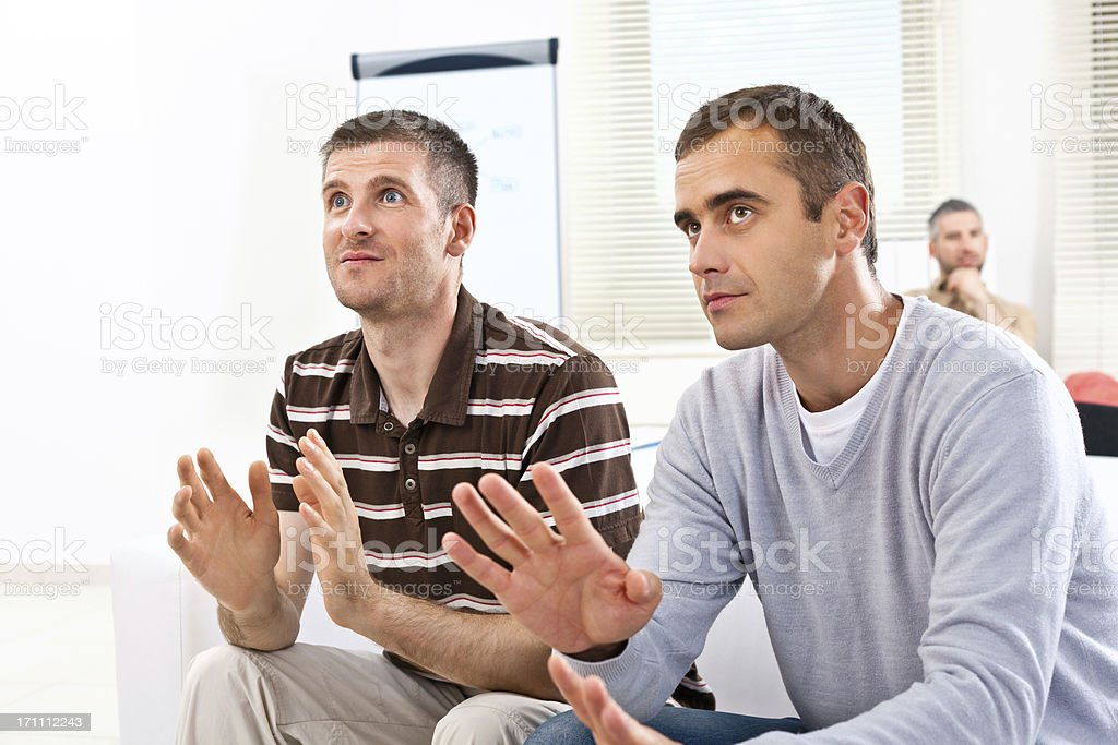 Brainstorming Creative agency. Two adult man having brainstorming in the meeting room. 30-34 Years Stock Photo