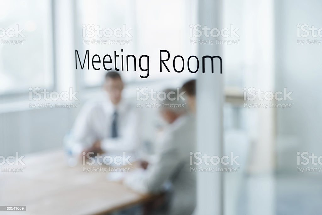 Brainstorming session behind those doors! stock photo