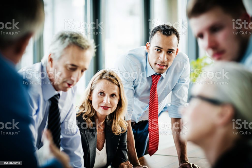 Brainstorming Session Between Business Employees stock photo