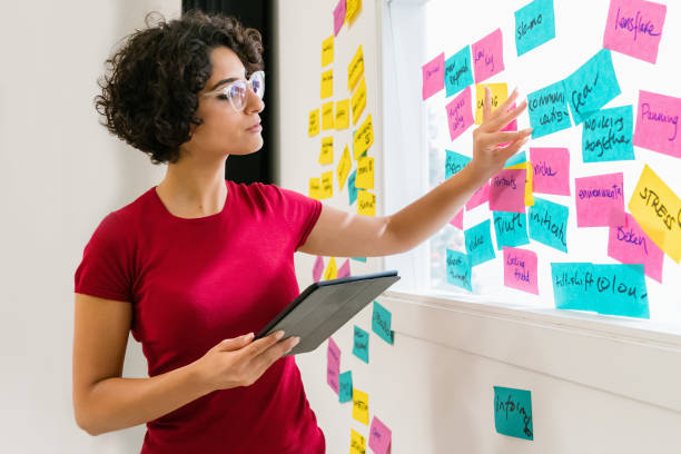 Brainstorming Sticky Notes Woman Checking Concept Papers stock photo