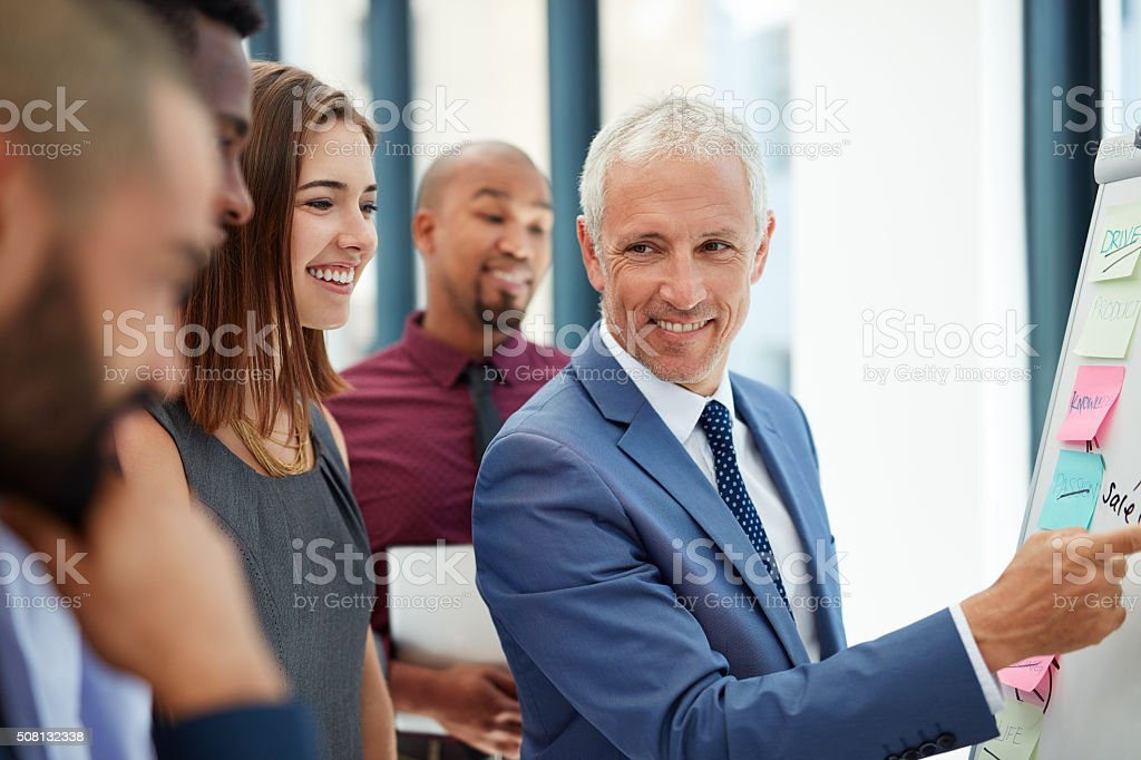 Brainstorming their way to better business stock photo