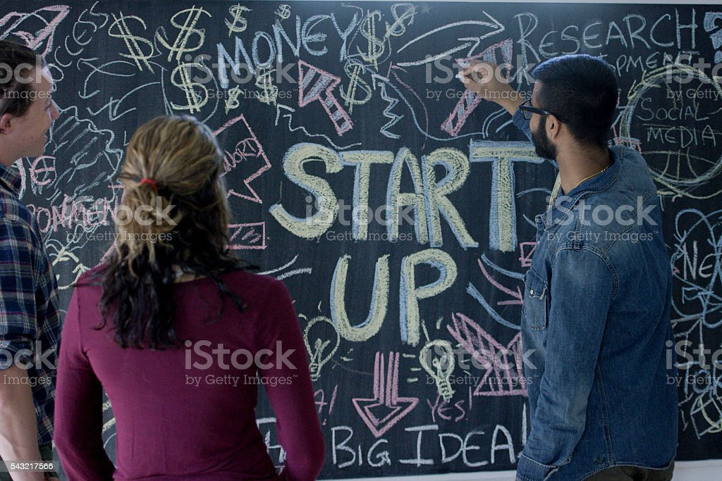 Brainstorming Together with a Chalkboard stock photo