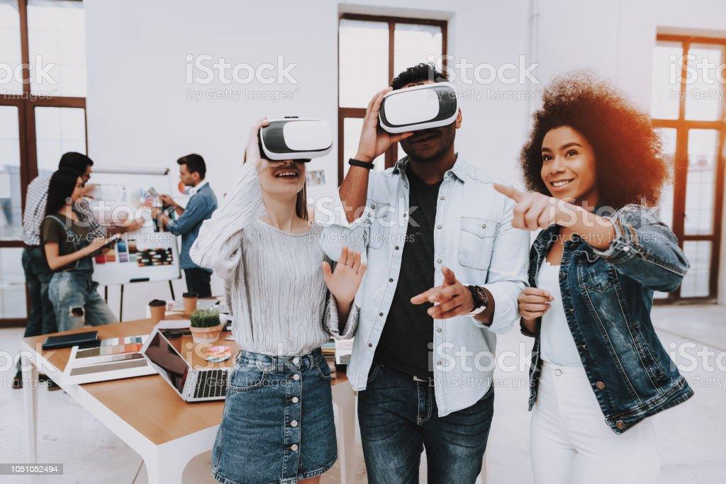 Brainstorming. Virtual Reality Glasses. Look. stock photo
