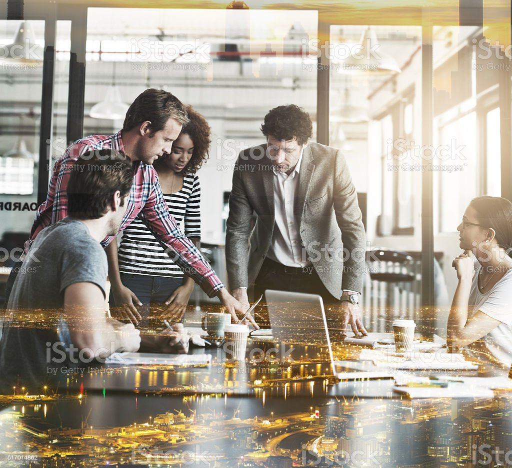 Brainstorming with the best in the city stock photo