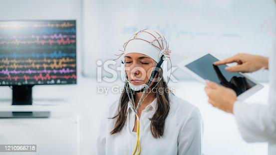 Brainwave EEG or Electroencephalograph Examination in a Clinic