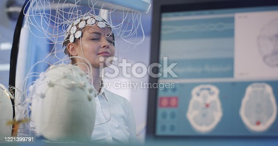 990107166 istock photo Brainwave Scanning Headset test in laboratory 1221399791
