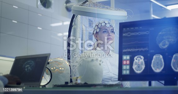 990107166 istock photo Brainwave Scanning Headset test in laboratory 1221399794