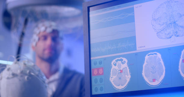 Brainwave Scanning Headset test in laboratory Medical test in modern Neurological Research Laboratory. neuroscience patient stock pictures, royalty-free photos & images
