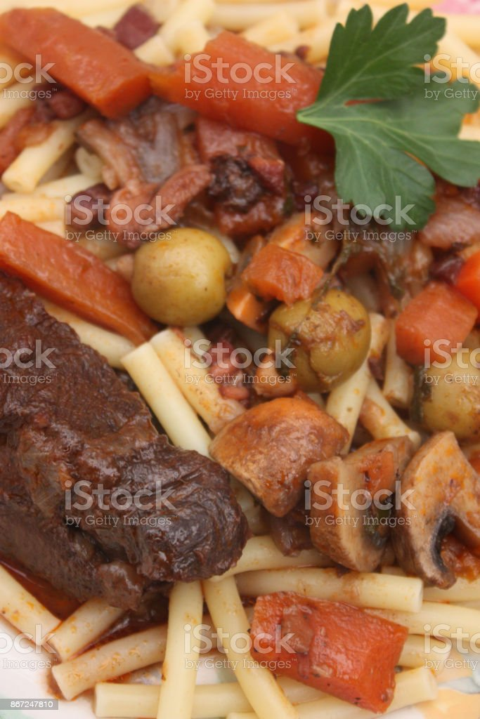 Braised Beef Burgundy Red Wine Sauce Served With Macaroni Stock Photo Download Image Now Istock