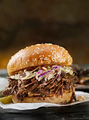Braised Beef Short Rib Sandwich with Coleslaw on a Brioche Bun