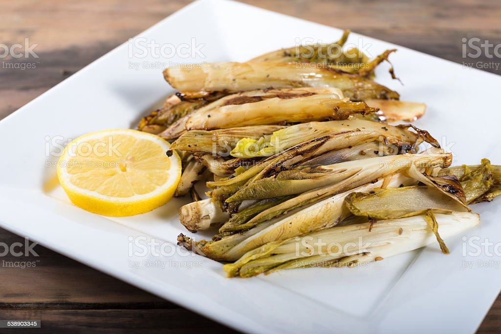 Braised Belgian Endive Side dish stock photo