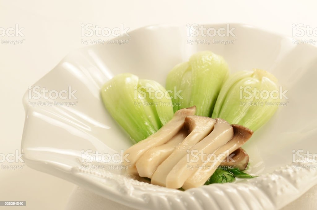 Braised Bok Choy with Oyster Mushroom stock photo