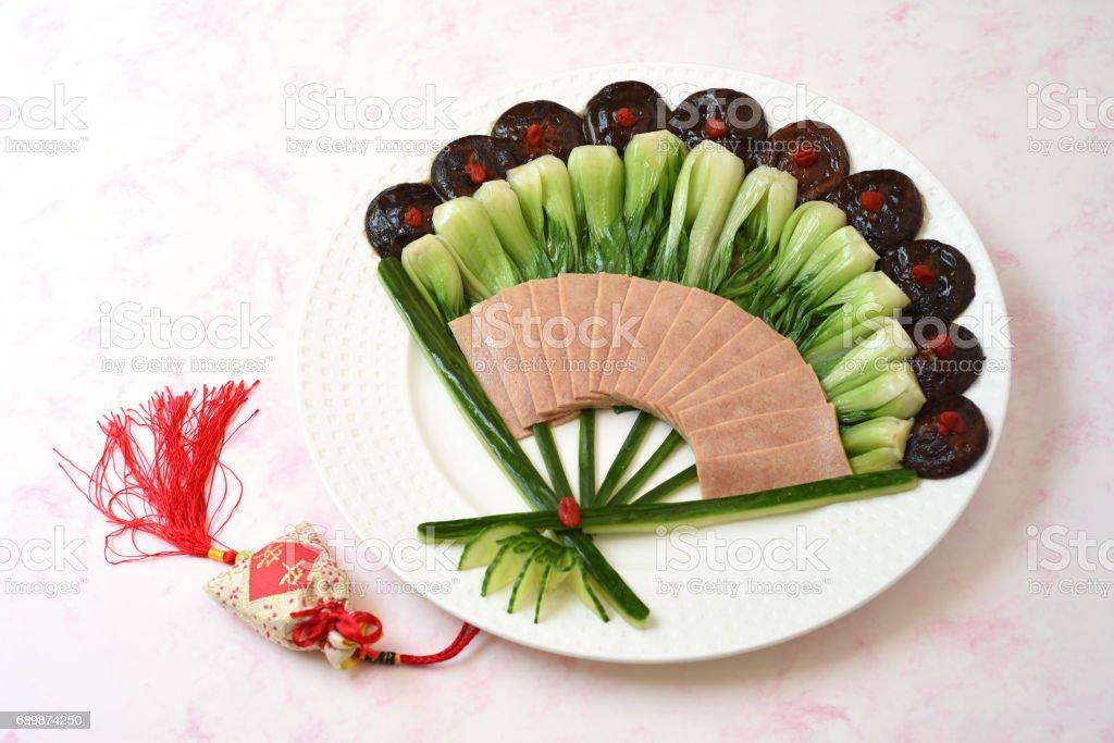 Braised Bok Choy with Shiitake Mushrooms stock photo