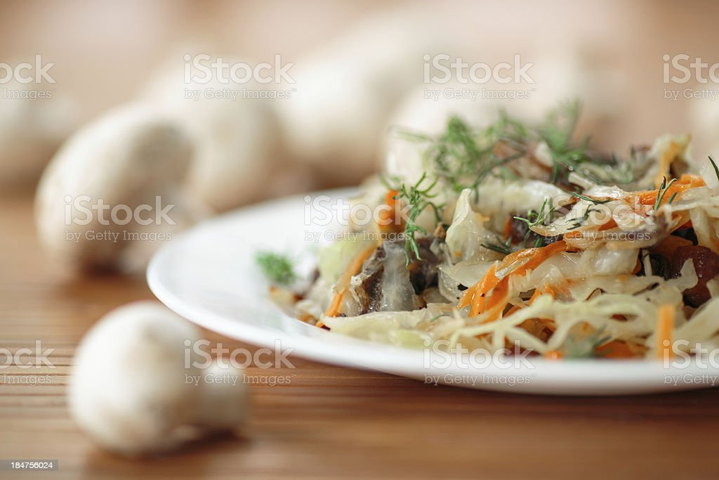 braised cabbage with mushrooms royalty-free stock photo