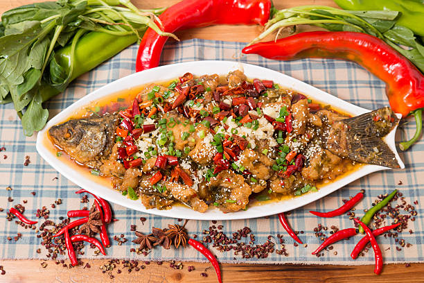 Braised carp braised carp with soy sauce stewed carp with brown sauce chinese wedding dinner stock pictures, royalty-free photos & images